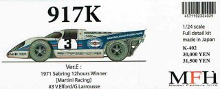 Model Factory Hiro 1/24 car model kit K402 P 917K (Version E) Sebring 1971 #3