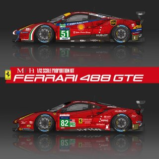 Model Factory Hiro 1/12 car model kit K 618 Ferrari 488GTE (2017) Proportion Kit Vers. (B)