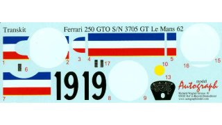 Autograph Decals Revell GTO 1/12 Le Mans 1962 No. 19 #3705 GT