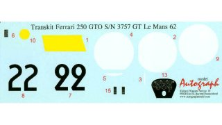 Autograph Decals Revell GTO 1/12 Le Mans 1962 No. 22 #3757 GT