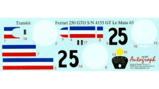 Autograph Decals Revell GTO 1/12 Le Mans 1963 No. 25 #4153 GT