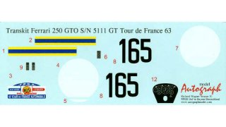 Autograph Decals Revell GTO 1/12 Tour de France 1963 No. 165 #5111 GT