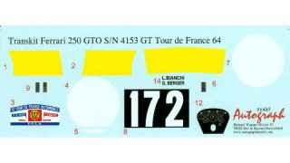 Autograph Decals Revell GTO 1/12 Tour de France 1964 No. 172 #4153 GT