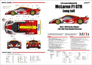 Model Factory Hiro 1/24 Automodellbausatz K379 McLaren F1 GTR Long Tail Version D
