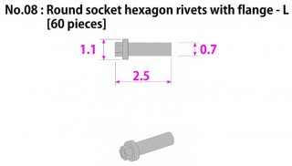 Model Factory Hiro P1015 Hexagonhead rivets with flange and indent 0,7/1,1 mm - pack of 60 pc