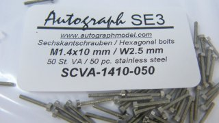 Stainless steel hexagonal model screw, M1,4 x 10 mm (SW 2,5 mm) - pack of 50 pc