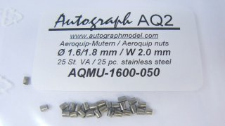 Stainless steel aeroquip model nut, 1,6 mm (SW 2,0 mm) - pack of 50 pc