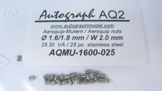 Stainless steel aeroquip model nut, 1,6 mm (SW 2,0 mm) - pack of 25 pc