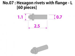 Model Factory Hiro P1014  Hexagon head rivets with flange 0,7/1,2 mm - pack of 60 pc