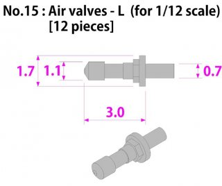 Model Factory Hiro P1031 Air valves 0,7/1,1/1,7 mm - pack of 12 pc