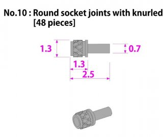 Model Factory Hiro P1026 Rivet roundhead knurled 0,7/1,3 mm - pack of 48 pc