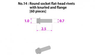 Model Factory Hiro P1030 flat-head rivets knurled with flange and indent 0,7/1,0 mm - pack of 60 pc