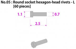 Model Factory Hiro P1021 hexagon head rivets with indent 0,5/0,8 mm - pack of 75 pc