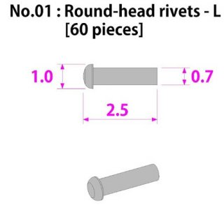 Model Factory Hiro round-head minus rivets 0,7/1,1 mm - pack of 60 pc