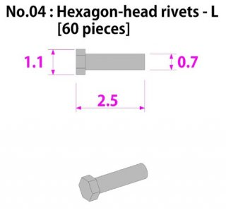 Model Factory Hiro P1011 rivets with hexagonal head 0,7/1,1 mm - pack of 60 pc