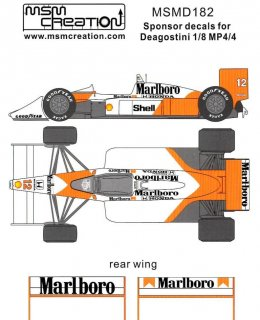 MSM Creation Decals 1/8 D182 für McLaren MP4/4 (DeAgostini)