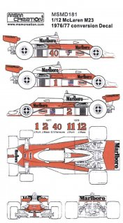 MSM Creation Decals 1/12 D181 für McLaren M23 (Tamiya)
